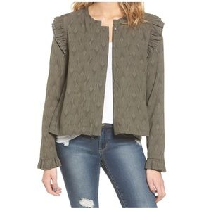 Hinge olive print ruffle swing jacket full zip new